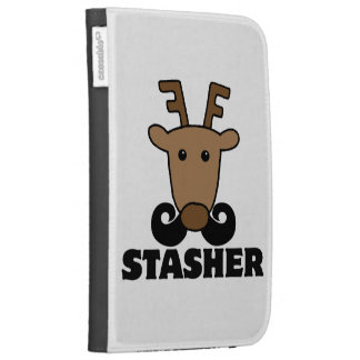 funny dasher stasher mustache reindeer kindle keyboard case