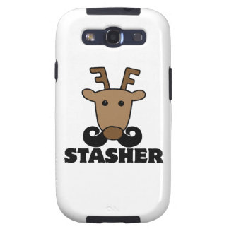 funny dasher stasher mustache reindeer samsung galaxy s3 cover