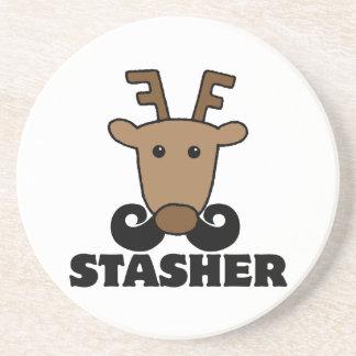 funny dasher stasher mustache reindeer beverage coaster