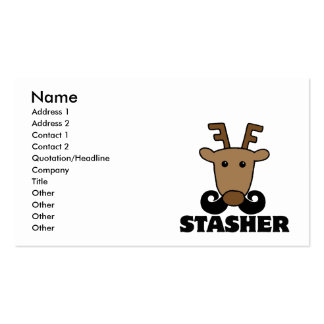 funny dasher stasher mustache reindeer Double-Sided standard business cards (Pack of 100)
