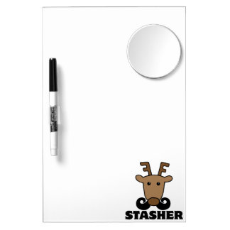 funny dasher stasher mustache reindeer Dry-Erase whiteboards