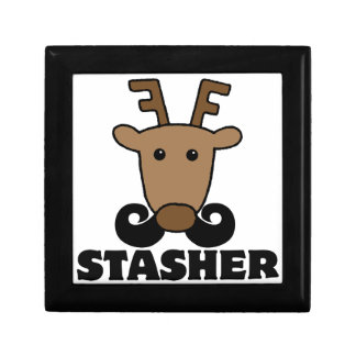 funny dasher stasher mustache reindeer keepsake box