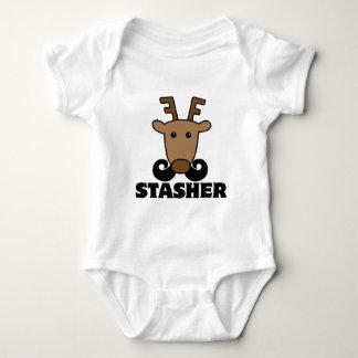funny dasher stasher mustache reindeer infant creeper