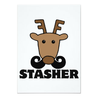 funny dasher stasher mustache reindeer 5x7 paper invitation card