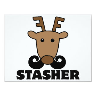 funny dasher stasher mustache reindeer 4.25x5.5 paper invitation card
