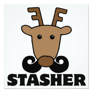 funny dasher stasher mustache reindeer 5.25x5.25 square paper invitation card