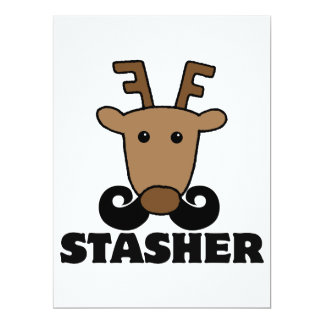 funny dasher stasher mustache reindeer 6.5x8.75 paper invitation card