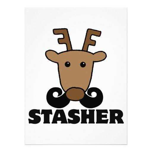 funny dasher stasher mustache reindeer invites