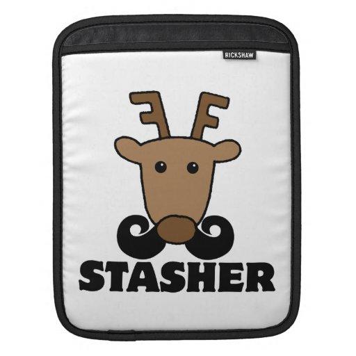funny dasher stasher mustache reindeer sleeve for iPads