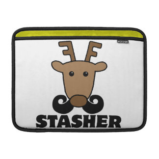 funny dasher stasher mustache reindeer sleeve for MacBook air