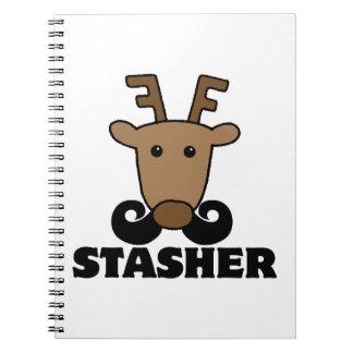 funny dasher stasher mustache reindeer journal