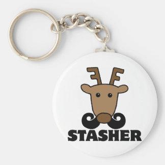 funny dasher stasher mustache reindeer basic round button keychain