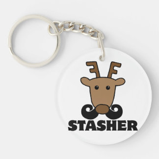 funny dasher stasher mustache reindeer Double-Sided round acrylic keychain