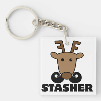 funny dasher stasher mustache reindeer Double-Sided square acrylic keychain
