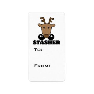 funny dasher stasher mustache reindeer personalized address labels