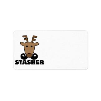 funny dasher stasher mustache reindeer custom address labels