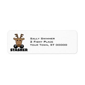 funny dasher stasher mustache reindeer label