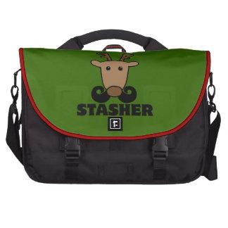 funny dasher stasher mustache reindeer laptop bag