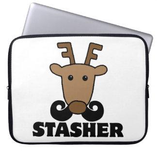 funny dasher stasher mustache reindeer computer sleeve