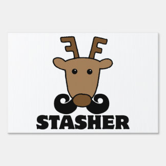 funny dasher stasher mustache reindeer lawn signs