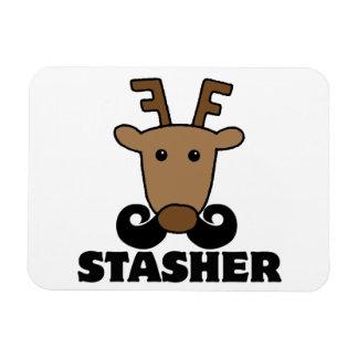 funny dasher stasher mustache reindeer magnet