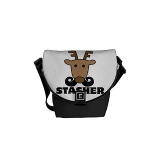 funny dasher stasher mustache reindeer messenger bag