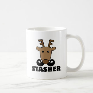 funny dasher stasher mustache reindeer mug