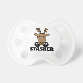 funny dasher stasher mustache reindeer baby pacifiers