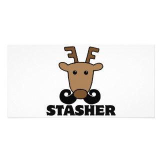 funny dasher stasher mustache reindeer photo card