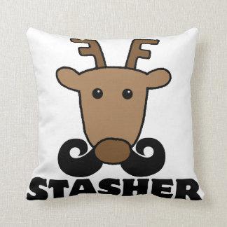 funny dasher stasher mustache reindeer pillows