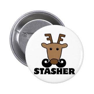 funny dasher stasher mustache reindeer pinback button