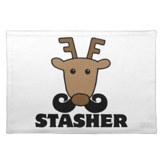 funny dasher stasher mustache reindeer placemats