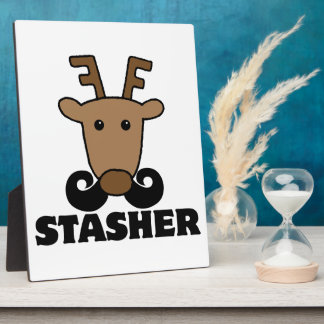 funny dasher stasher mustache reindeer photo plaques