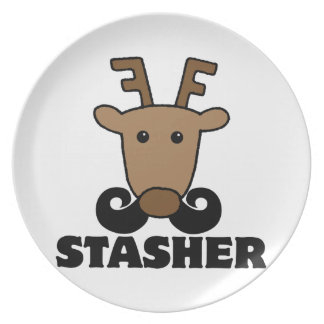 funny dasher stasher mustache reindeer plates
