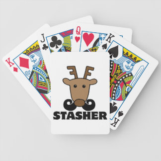 funny dasher stasher mustache reindeer poker deck