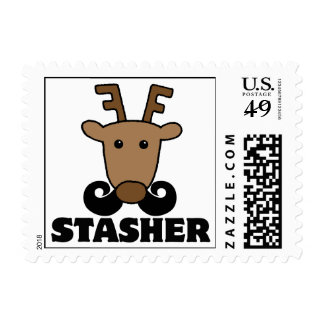 funny dasher stasher mustache reindeer postage stamps