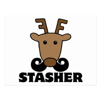 funny dasher stasher mustache reindeer postcard