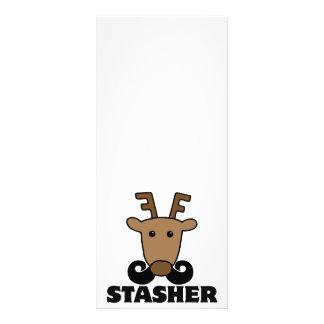 funny dasher stasher mustache reindeer custom rack card