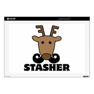 "funny dasher stasher mustache reindeer 17"" laptop decals"
