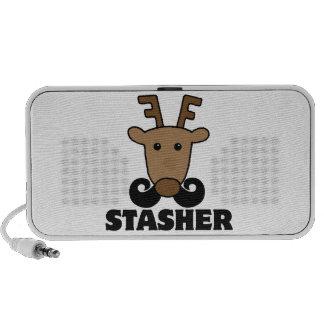 funny dasher stasher mustache reindeer notebook speaker