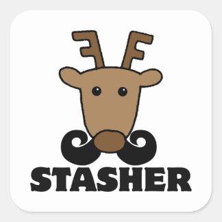 funny dasher stasher mustache reindeer stickers