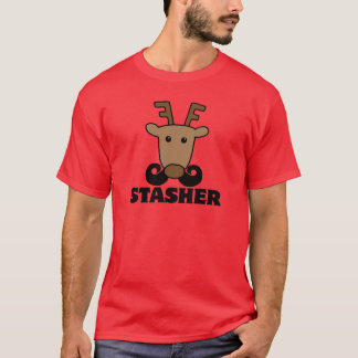 funny dasher stasher mustache reindeer T-Shirt