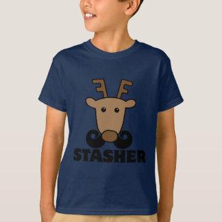 funny dasher stasher mustache reindeer T-Shirt