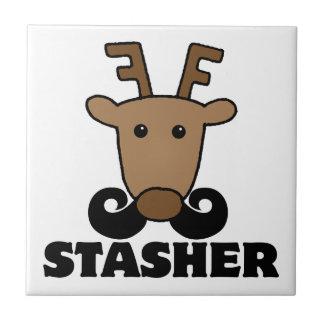 funny dasher stasher mustache reindeer ceramic tile