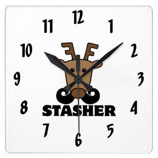 funny dasher stasher mustache reindeer wall clocks