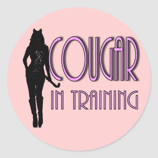 funny dating single lady hot cougar classic round sticker
