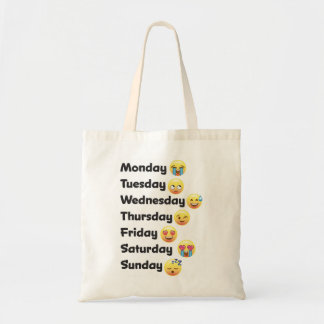 Funny Days of the Week Emoji faces Tote