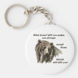 Funny De Motivational Quote Bears kill you Keychain