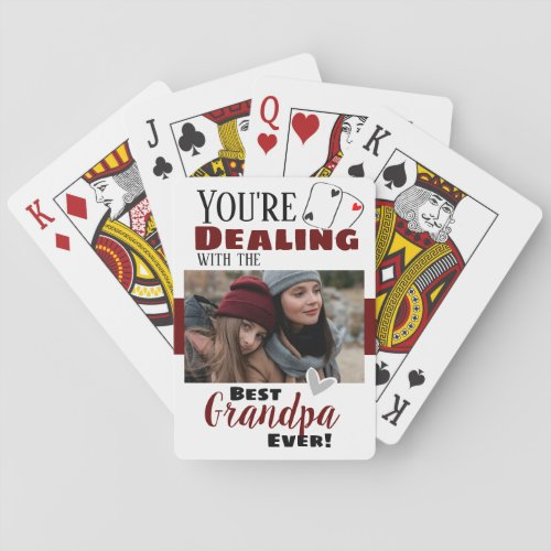 Funny Dealing with the Best Grandpa One Photo Playing Cards