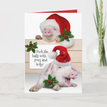 Funny Deck The Halls With Sows and Holly Holiday Card